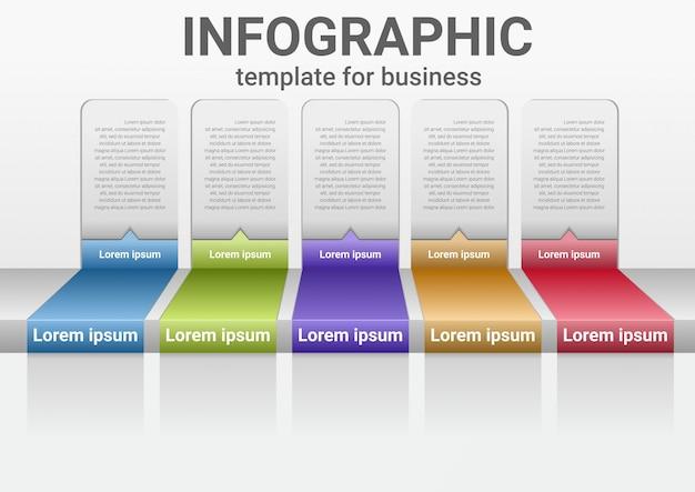 Infografica passi di business ai dati di successo. diagramma di presentazione diagramma con modello di passaggi.