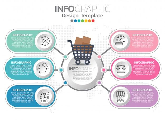 Infografica per icone di affari e 6 opzioni o passaggi.
