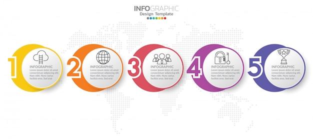 Infografica per il concetto di business con icone e passaggi.