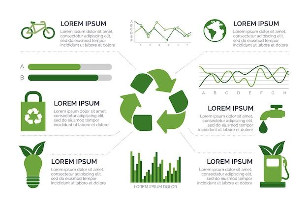 Infografica piatta ecologia con colori retrò