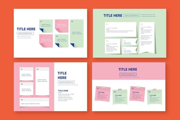 Infografica post-it in design piatto