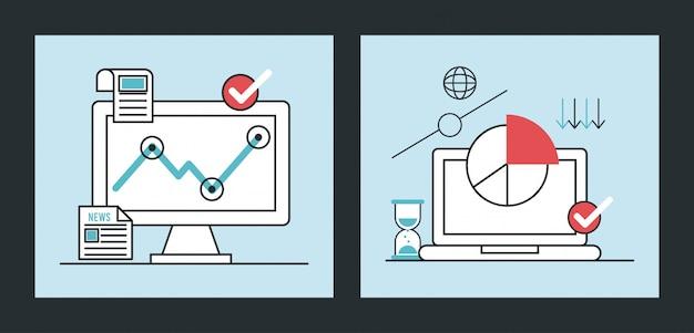 Infografica recessione economica con laptop e desktop
