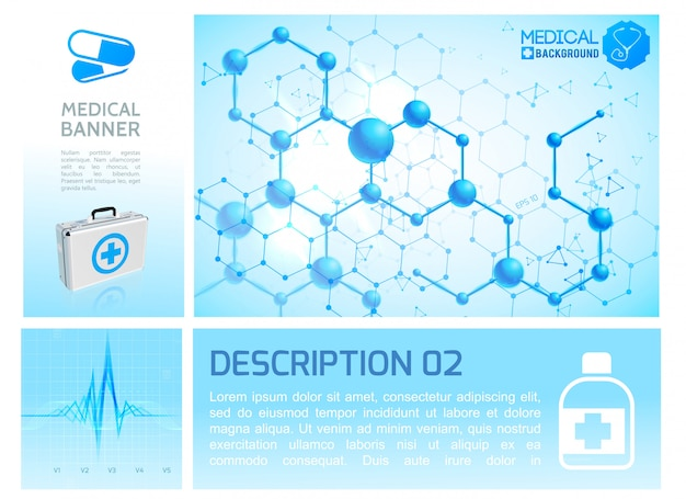 Infografica sanitaria blu infografica con ritmo cardiaco scatola medica realistica e struttura molecolare