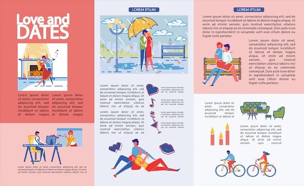 Infografica scritto amore e date, cartone animato.