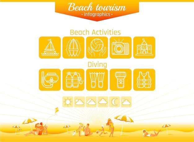 Infografica spiaggia. attività estive in famiglia, tempo libero, sport da spiaggia, linea di immersioni icona impostata con lo sfondo del paesaggio.