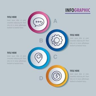 Infografica statistica con icone di affari