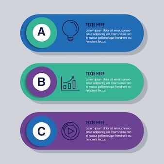 Infografica statistica con lettere e icone