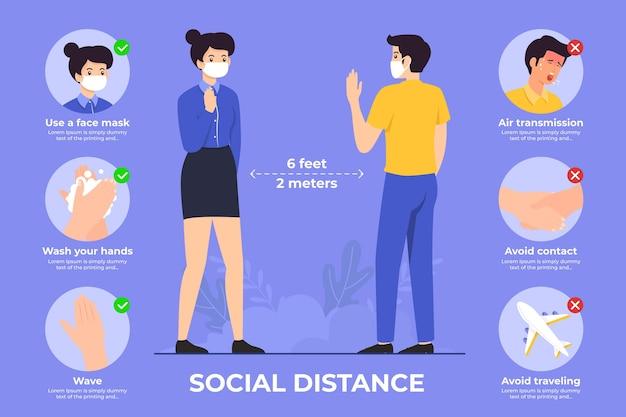 Infografica su come mantenere la distanza sociale