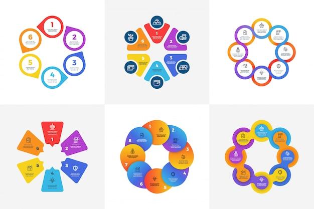 Infografica tecnologia circolare con opzioni freccia. grafici informativi con sezioni a colori. processi vettoriali aziendali con passaggi