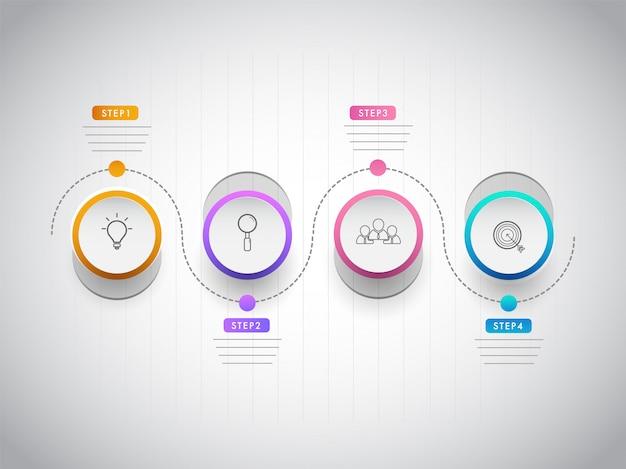 Infografica timeline basata sul concetto di settore aziendale o aziendale