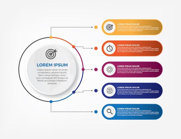 Infografica timeline design vettoriale e icone di marketing.