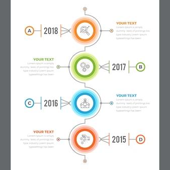 Infografica timeline verticale con 04 passaggi