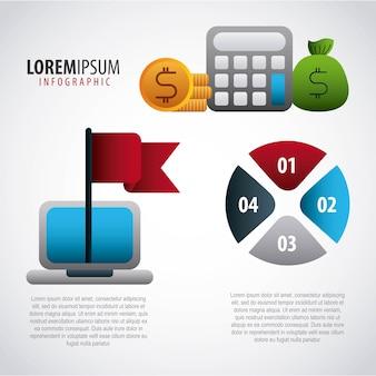 Infografica workflow chart laptop denaro dollaro