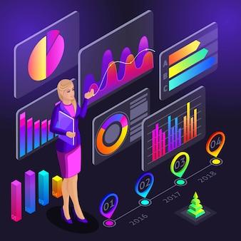 Infografiche, la ragazza conduce corsi di formazione che mostrano diagrammi olografici per la segnalazione di programmi di allenamento, grafici, analisi, analisi