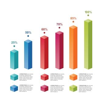 Infographic di statistica del diagramma del grafico a barre di affari