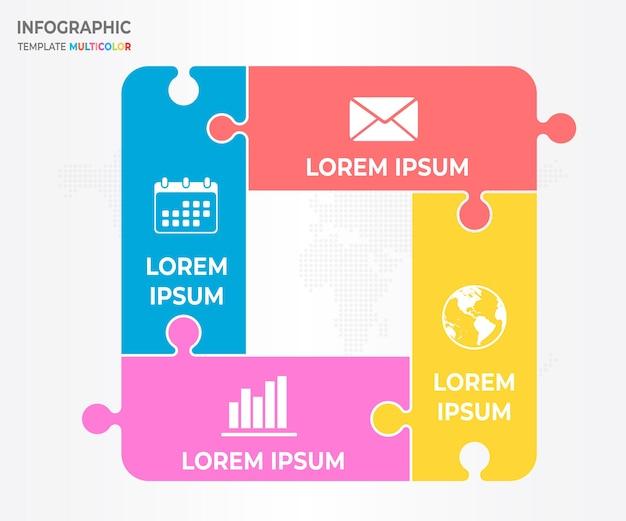 Infographic jigsaw design 4 options