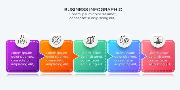 Infographic moderno di affari di cinque passaggi
