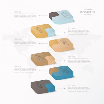 Infographics 3d ed icone per il concetto attuale di affari.