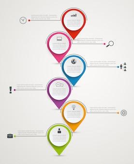 Infographics astratto di affari con 6 etichette di carta.