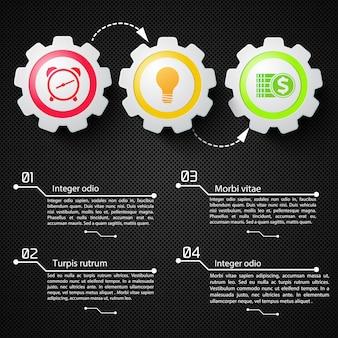Infographics astratto di affari con gli ingranaggi meccanici del testo e le icone variopinte sull'illustrazione nera della rete