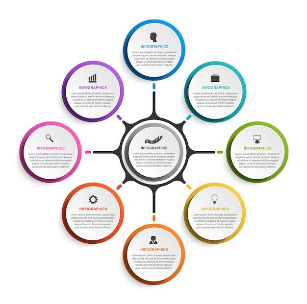 Infographics astratto di opzioni di affari con otto opzioni