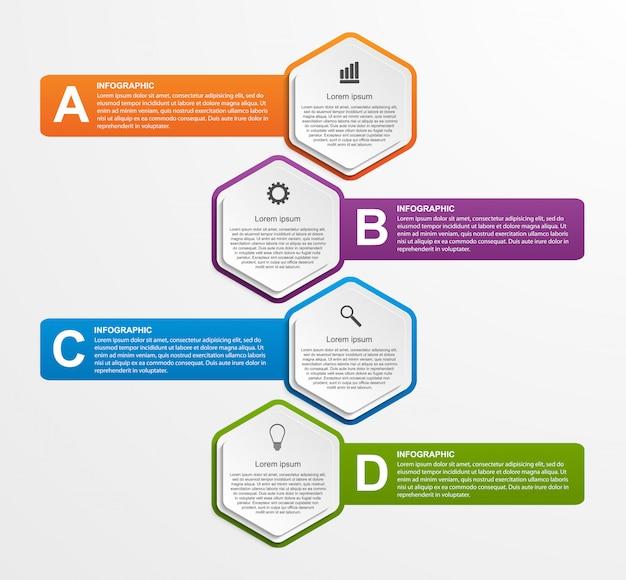 Infographics astratto di opzioni di affari di esagono.