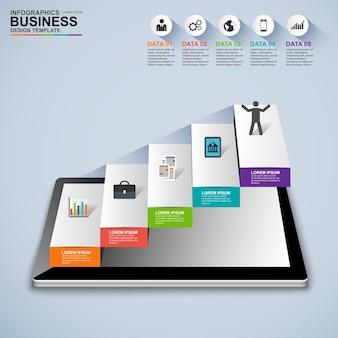 Infographics business stair step template di progettazione vettoriale di successo