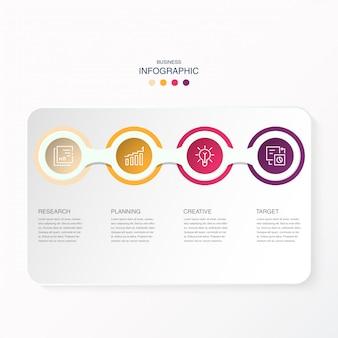 Infographics dei cerchi ed icone del lavoro per il concetto attuale di affari.