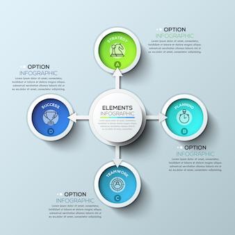 Infographics del cerchio della freccia con quattro opzioni