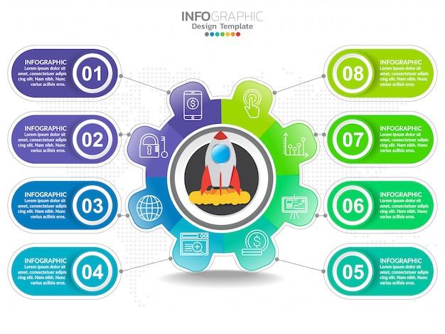 Infographics del diagramma di processo di punto di affari con il punto.