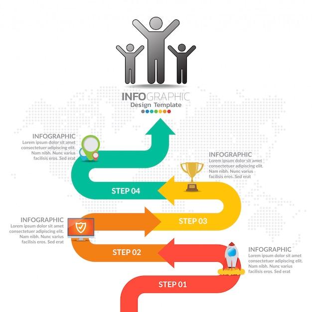 Infographics del flusso di lavoro della timeline di affari