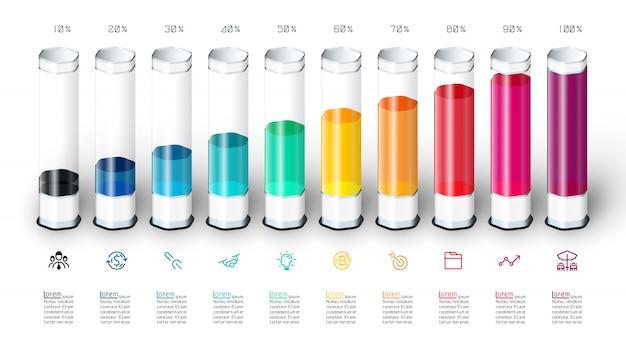 Infographics del grafico a barre con il tubo di vetro variopinto 3d.
