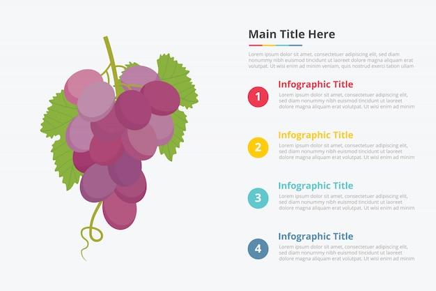 Infographics della frutta dell'uva con una descrizione di titolo del punto