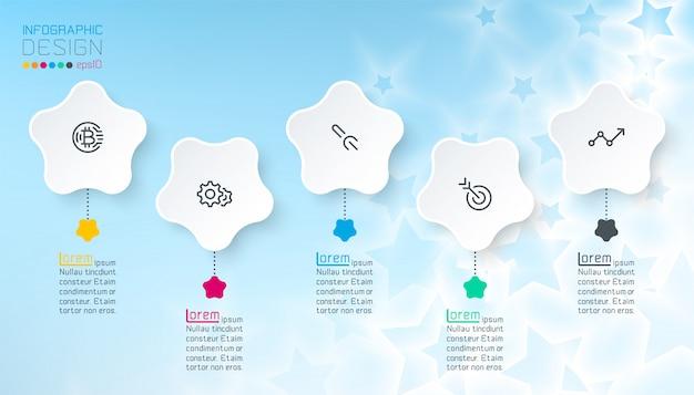 Infographics della stella bianca con fondo astratto blu