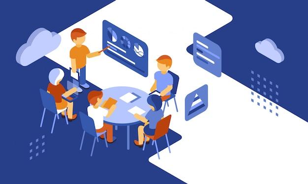 Infographics di affari della gente del lavoro di gruppo isometrico
