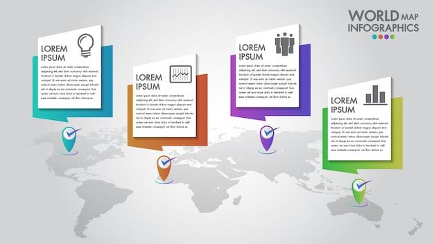 Infographics di affari di mappa mondo