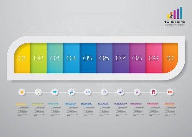 Infographics di affari di presentazione di 10 opzioni moderne