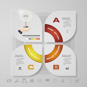 Infographics di affari di presentazione di 3 opzioni moderne