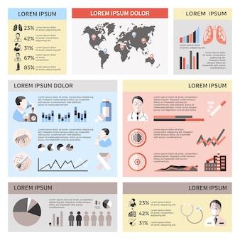 Infographics di asma bronchiale con grafici di statistiche della polvere dell'animale domestico delle pillole dei polmoni del paziente del medico della mappa del mondo