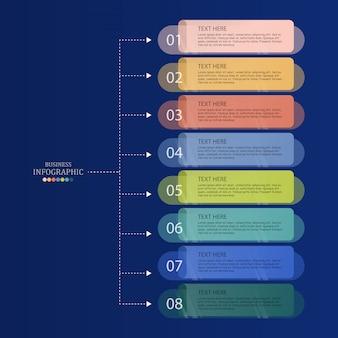 Infographics di base e fondo blu per il concetto di affari.