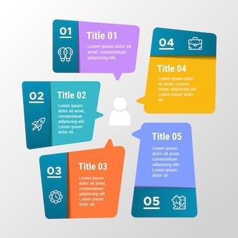 Infographics di bolle di discorso in design piatto