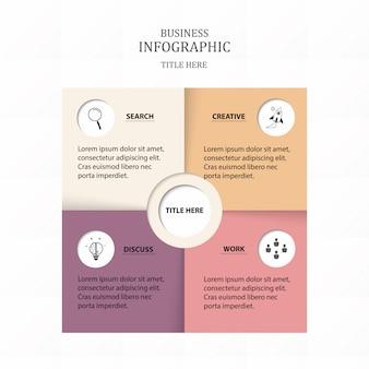 Infographics di carta quadrato