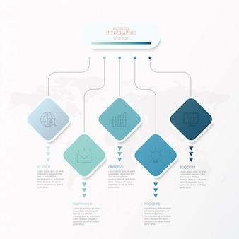 Infographics di colore blu, cinque quadrati e icone.