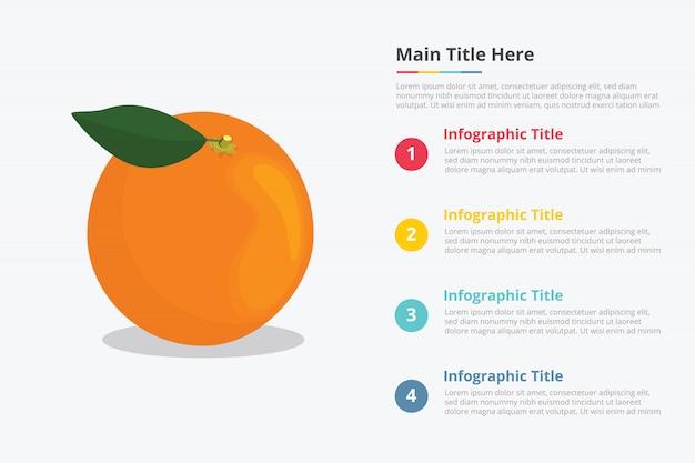 Infographics di frutta di arance con qualche descrizione del titolo del punto