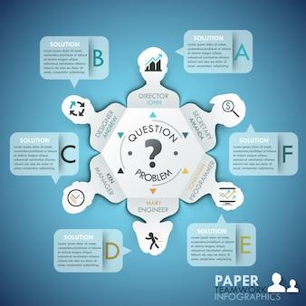 Infographics di lavoro di squadra di affari