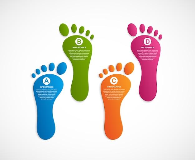 Infographics di modello di design moderno di piede.