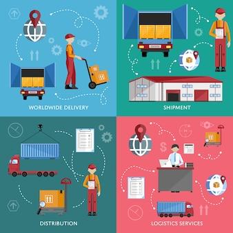 Infographics di processo del magazzino quattro insegne.