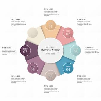 Infographics di processo di passaggio 8 di affari con i cerchi di punto.