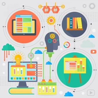 Infographics di progettazione di concetto di sviluppo e di seo nella progettazione dei cerchi