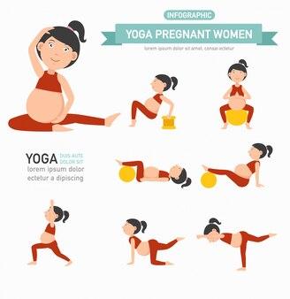 Infographics di sanità delle donne incinte di yoga. vettore
